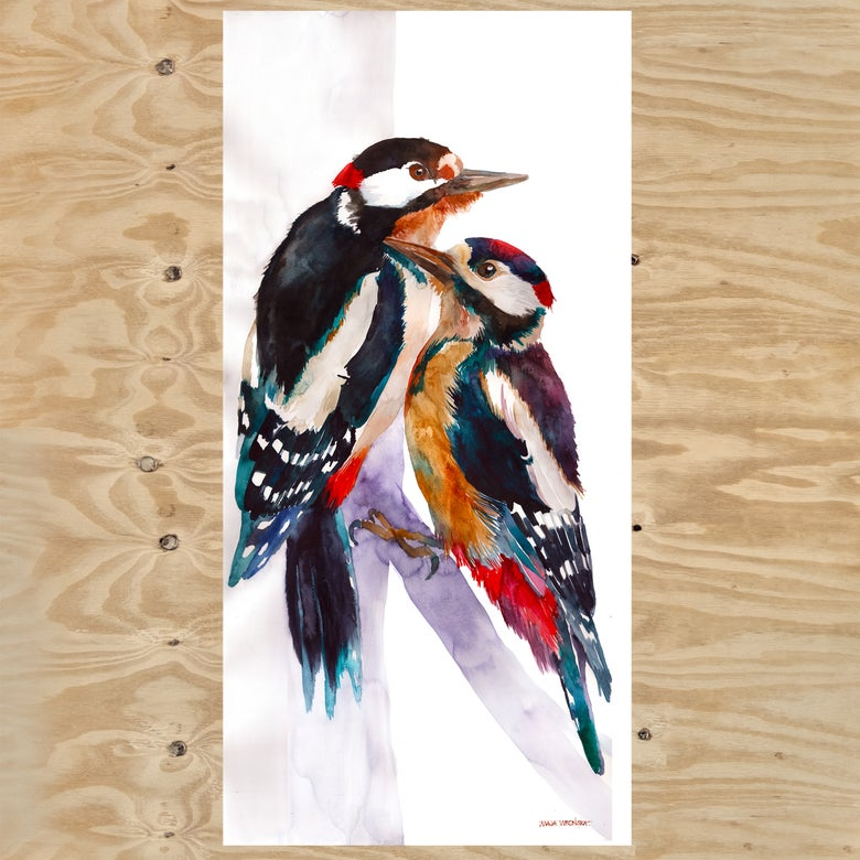 Image of Woodpeckers - original watercolor painting