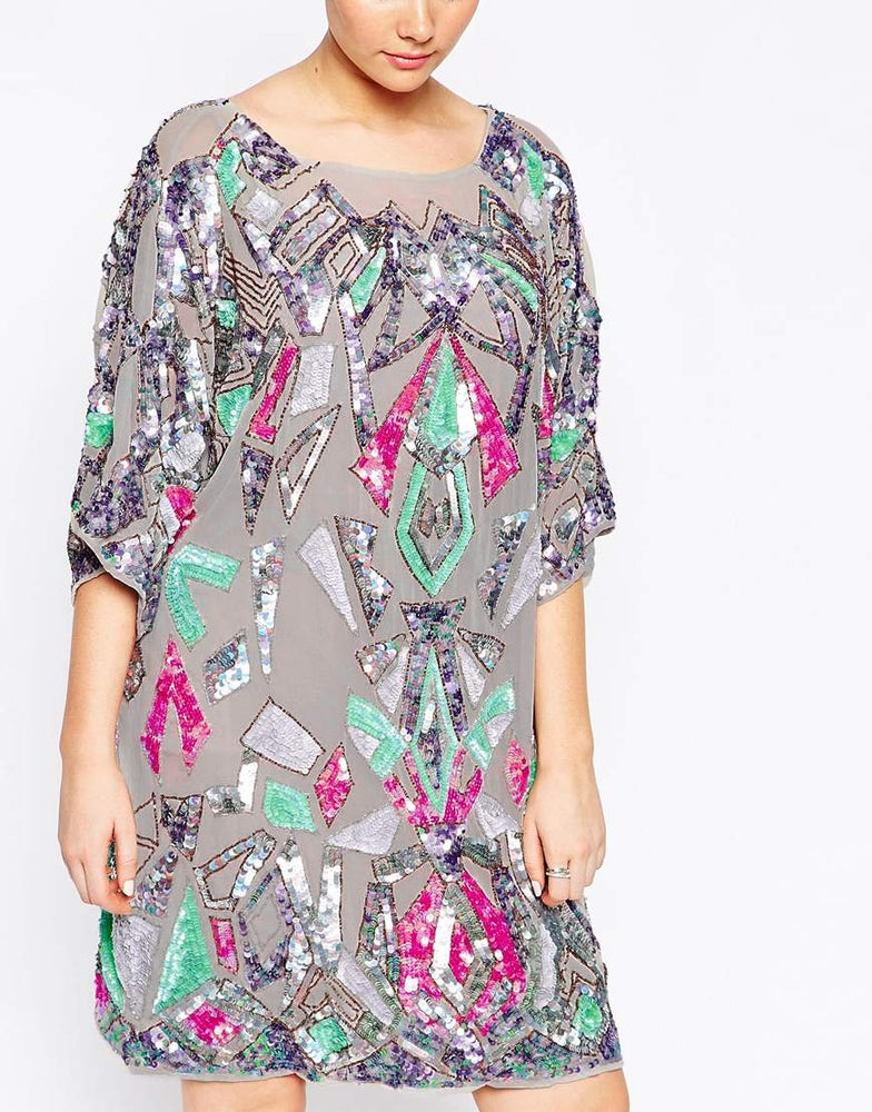 Image of ASOS CURVE Aztec Embellished Dress In Iridescent Sequin