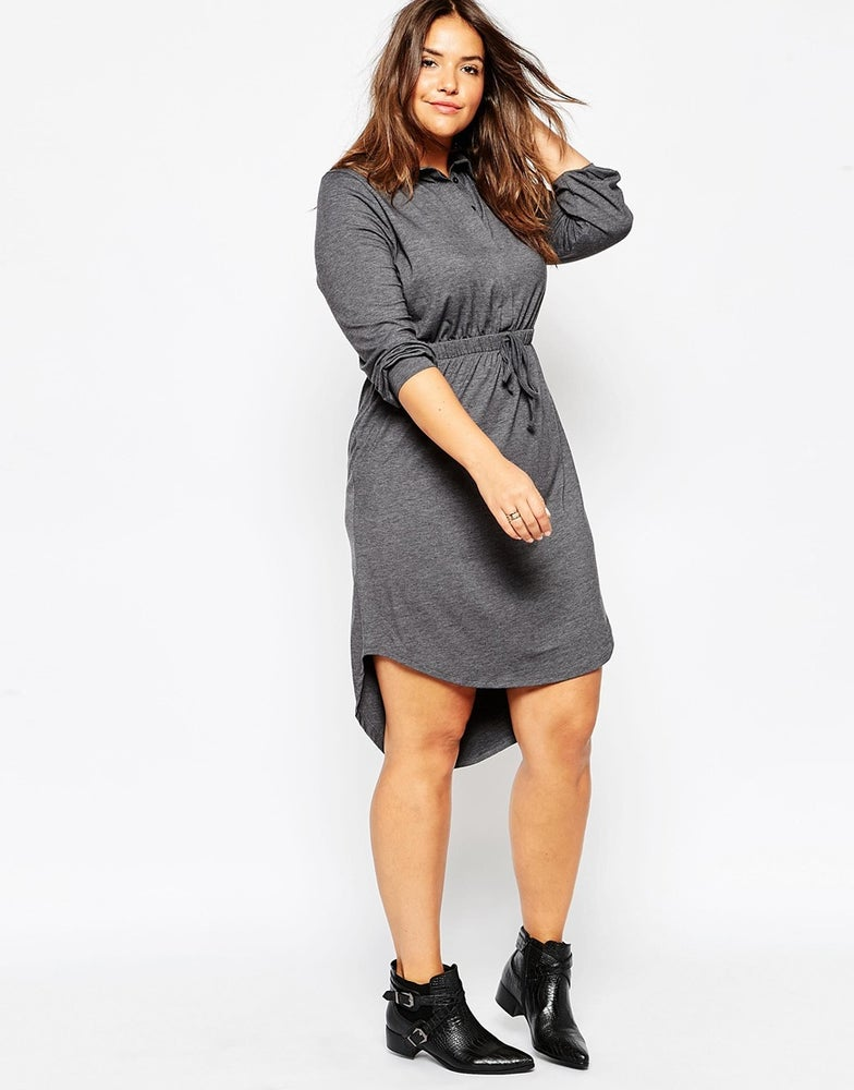 Image of ASOS CURVE Waisted Shirt Dress In Jersey