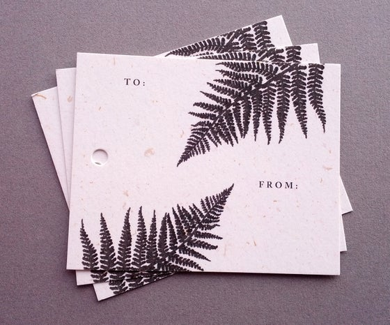 Image of Printed gift tags on recycled paper - Ferns