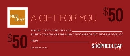 Image of Red Leaf Gift Certificate Valued At $50.00 Never Expires Redeemable At Any Time.