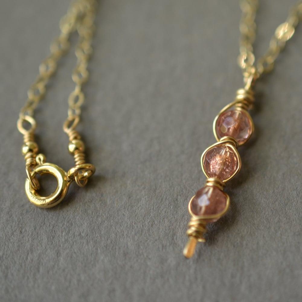 Image of Oregon sunstone necklace vertical trio