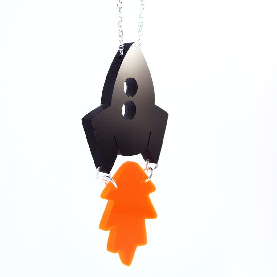Image of Rocket & Flame necklace or brooch