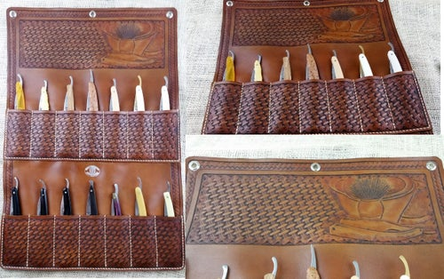 Image of Custom Hand Tooled Leather 7 or 14 Day Straight Razor wall display. Your image/design or idea.