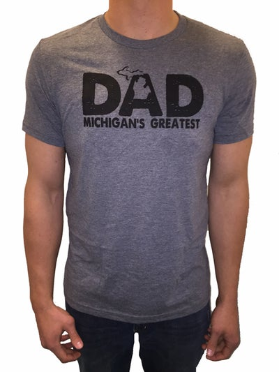 Image of MI Greatest Dad Tee Heather Grey