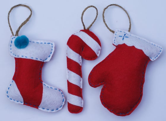 "Image of 3 PACK ""RED CHRISTMAS"" ORNAMENTS"