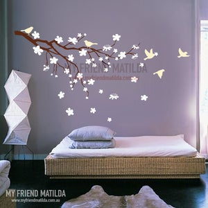 Image of Blossoming Flower Branch with birds wall decal