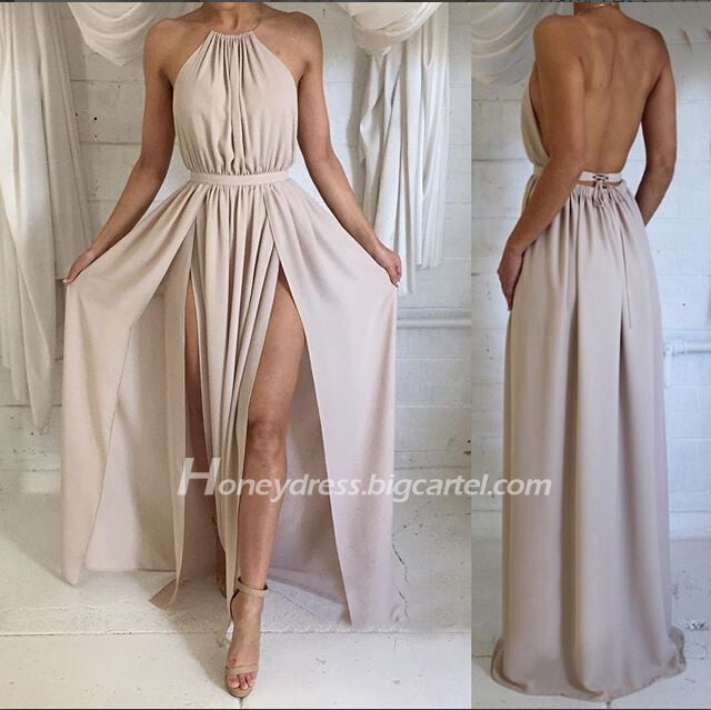 Image of Simple Chiffon Grey Nude Halter Necklace Open Back Prom Dress With Slit