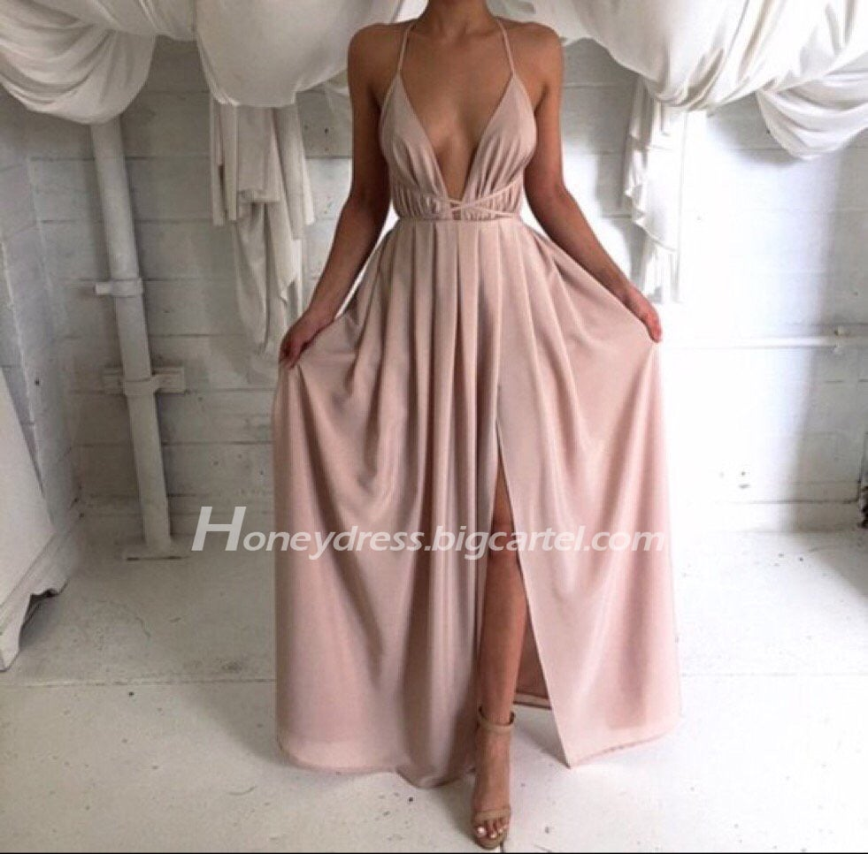 Image of Chiffon V Neck Nude Backless Slit Prom Dress With Open Back