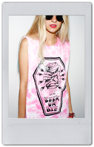 Image of  GLOWING UNDER UV PINK TIE DYE TANK TOP