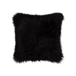 Image of 676685001948 Natural-NEW ZEALAND -SHEEPSKIN-PILLOW-BLACK