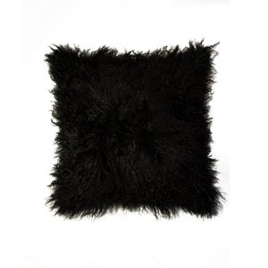 Image of 676685006875 Natural-MONGOLIAN SHEEPSKIN PILLOW-BLACK