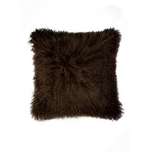 Image of 676685006899 Natural-MONGOLIAN SHEEPSKIN PILLOW-CHOCOLATE
