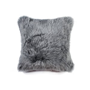 Image of 676685025821 Natural-NEW ZEALAND SHEEPSKIN PILLOW - GRAY