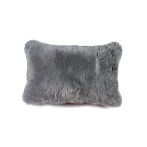Image of 676685025838 Natural-NEW ZEALAND SHEEPSKIN PILLOW   GRAY