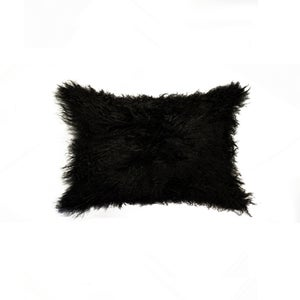 Image of 676685025869 Natural-MONGOLIAN SHEEPSKIN PILLOW 12X20 BLACK