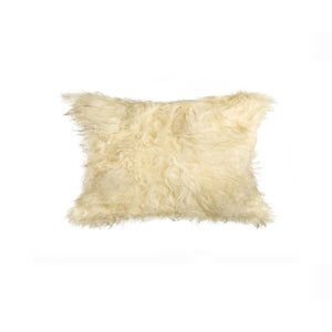Image of 676685025876 Natural-MONGOLIAN SHEEPSKIN PILLOW 12X20 NATURAL