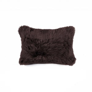 Image of 676685034380 Natural-NEW ZEALAND SHEEPSKIN PILLOW - 12X20 CHOCOLATE