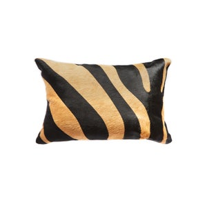 Image of 676685025623 Natural-TORINO-COWHIDE-PILLOW-ZEBRA-BLACK & TAN