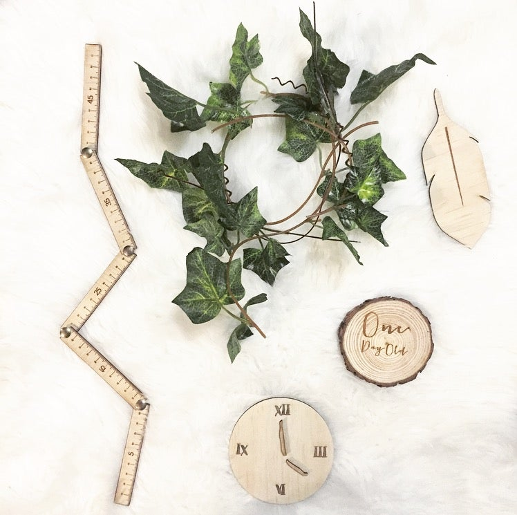 Image of NEWBORN ANNOUNCEMENT FLAT LAY [feather, clock and ruler]