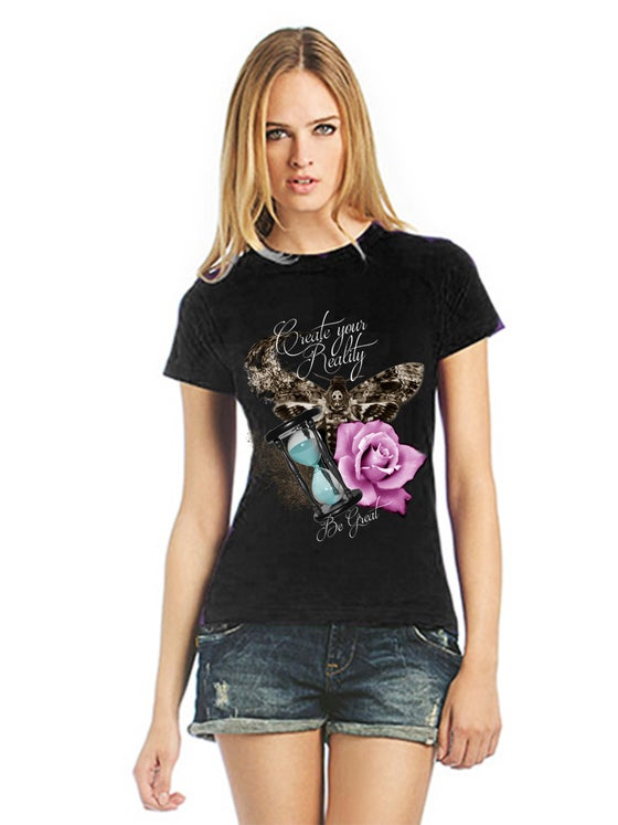Image of Womens t-shirt: Create your reality (moth, hourglass, rose)