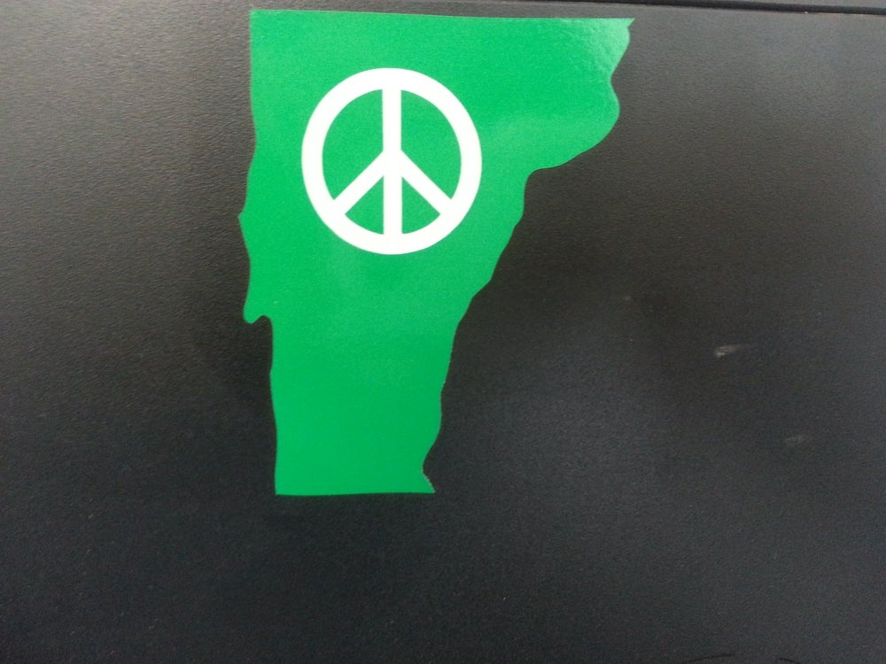 Image of Vermont State of Peace Vinyl Bumper Stickers Decal - VT State Cut out with Peace Sign