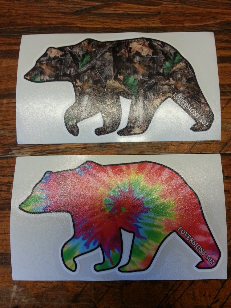 Image of Vermont Bear Stickers - Digital printed bumper decal - Choose From - Tie Dye or Real Tree Camo