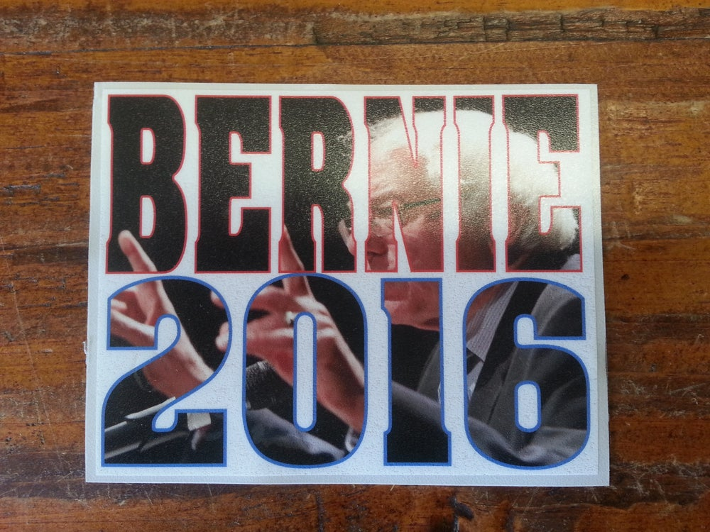 "Image of Bernie Sanders 2016 Sticker - 5"" x 4"""