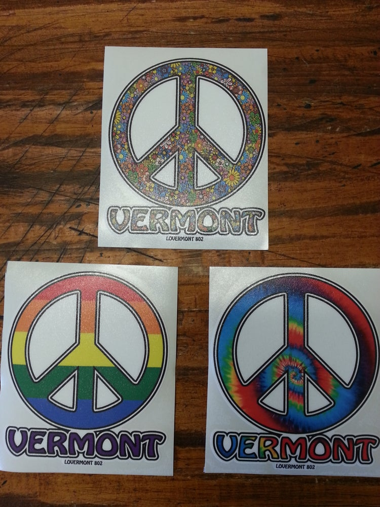Image of Vermont Round Peace Sign Stickers Classic Digital printed bumper decal