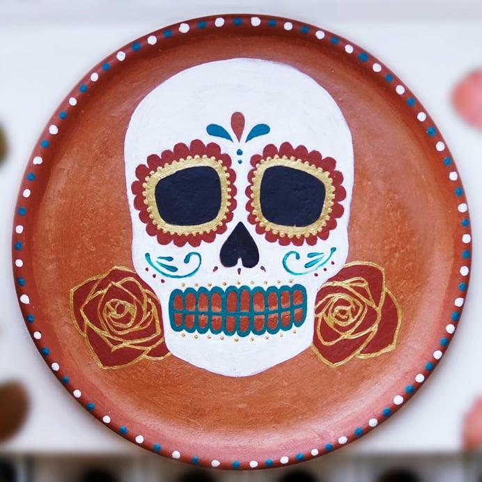 Image of Calavera 'Dia de los Muertos' clay plate