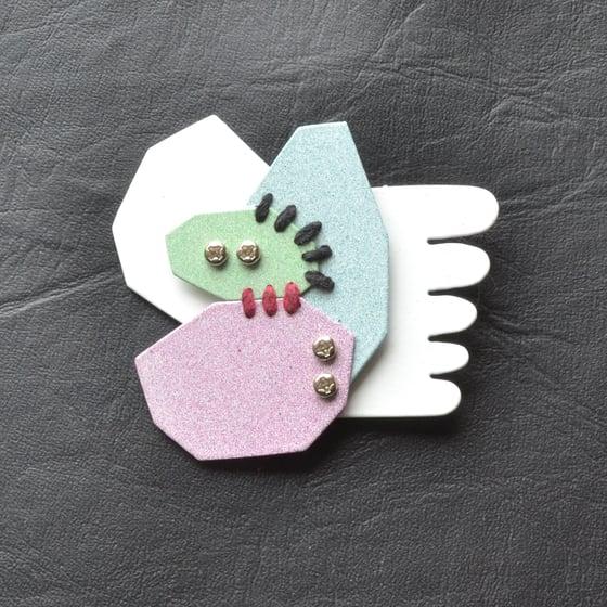 Image of Pastel geometric brooch 1