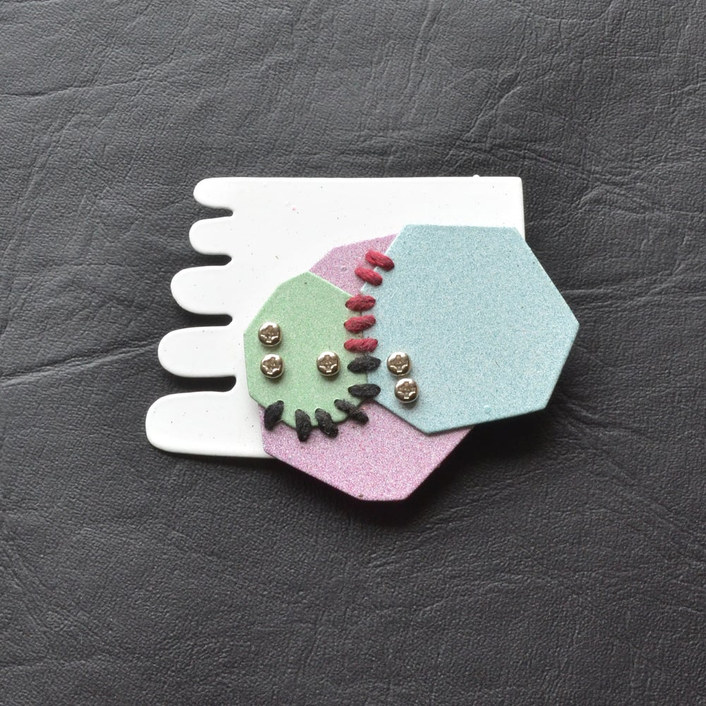 Image of Pastel geometric brooch 2