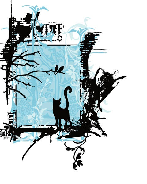 Image of Blue Cat Ornate Pattern Art Print