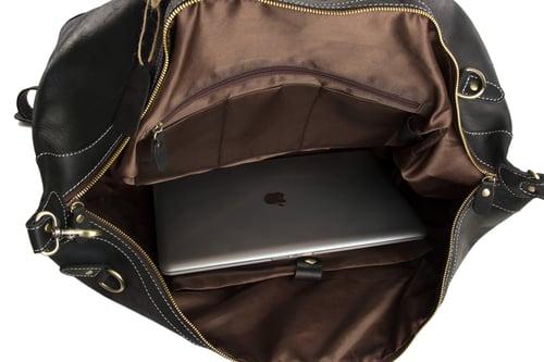 Image of Handmade Vintage Genuine Cowhide Leather Travel Bag, Duffle Bag, Weekender Bag DZ07