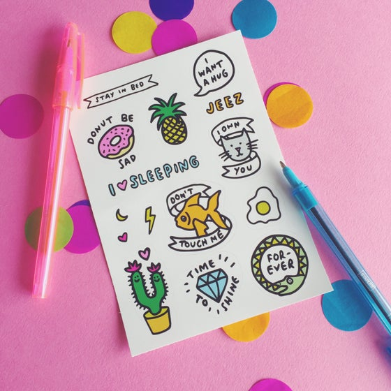 Image of A6 Fun Sticker Sheet