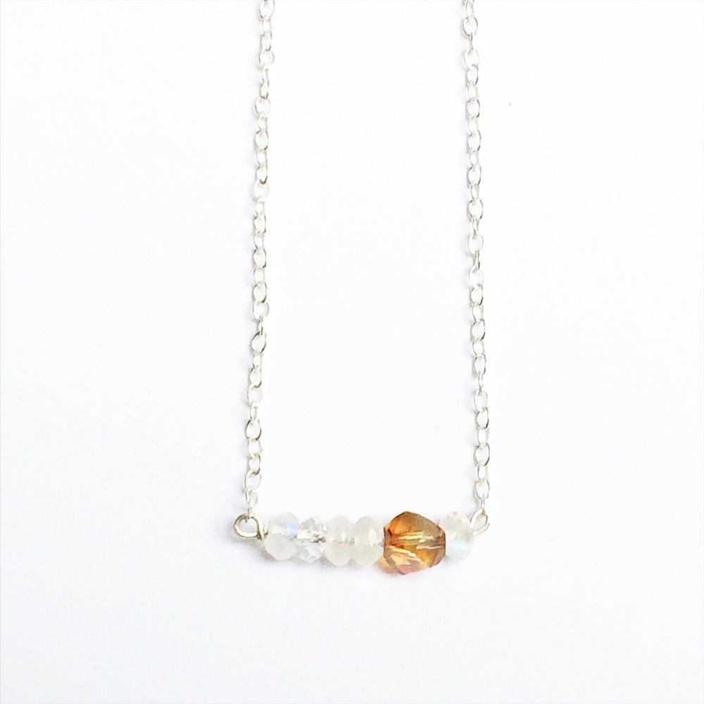 Image of Sun Necklace - Moonstone + Sterling Silver