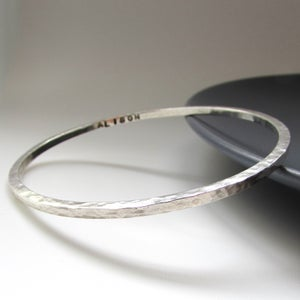 Image of Square Hammered Silver Bangle