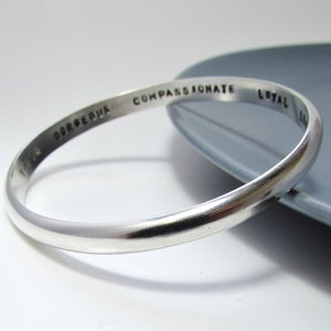 Image of Heavy Personalised Silver Smooth Bangle