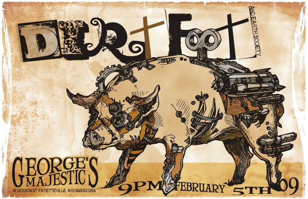 Image of Dirtfoot at George's Majestic with Earth Society Poster