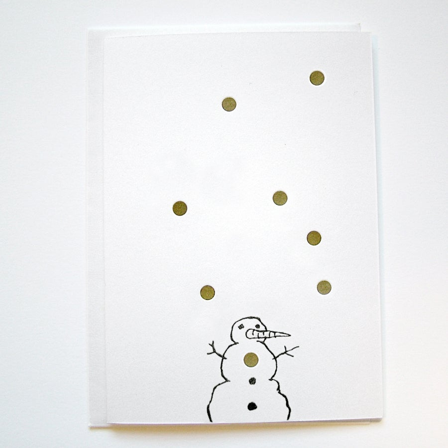 Image of GOLDIE 'SNOWMAN' - LETTERPRESS CHRISTMAS CARD