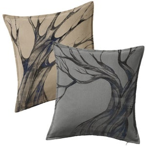 Image of Custom Painted Tree Throw Pillow Cover - Beige or Grey