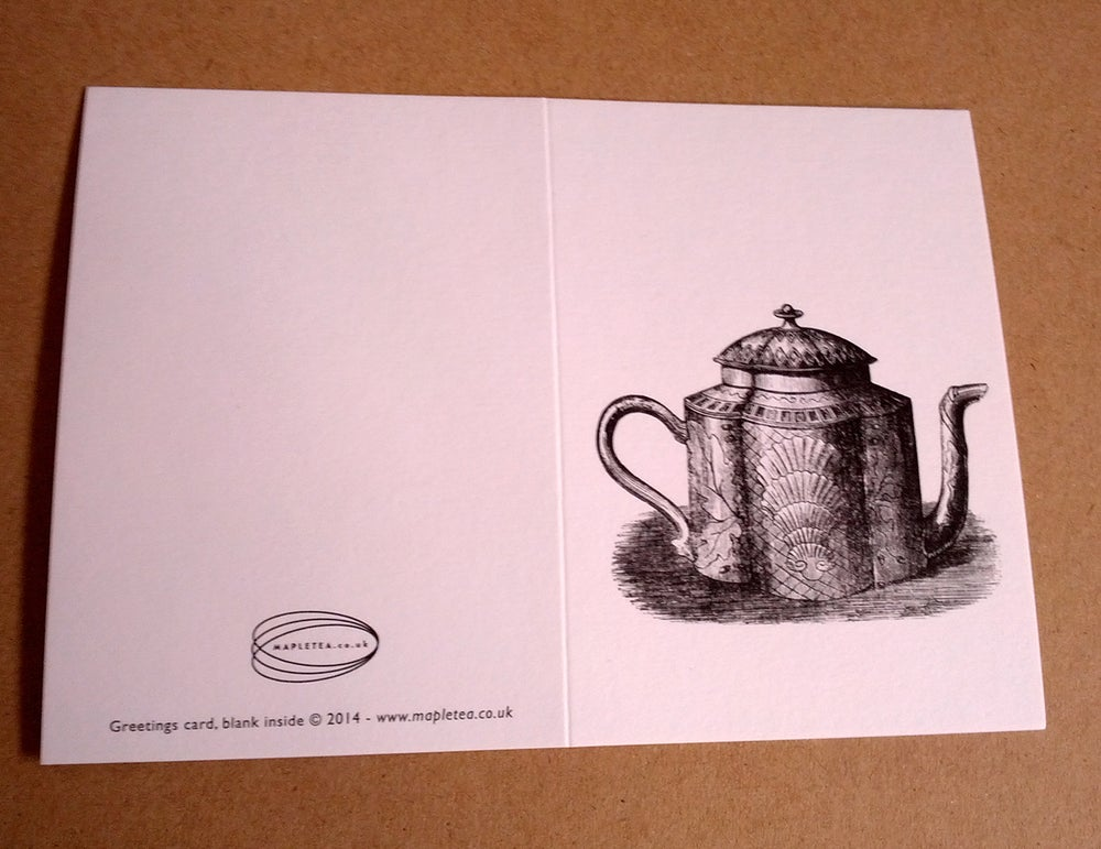 Image of Stationery set, 6 notecards with recycled envelopes, Teapot