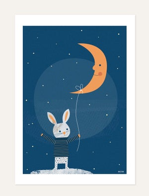 THE RABBIT AND THE MOON print