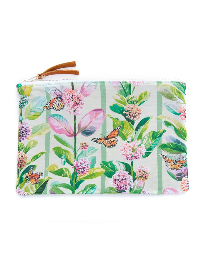 Image of Monarchs & Milkweed Canvas Pouch #1