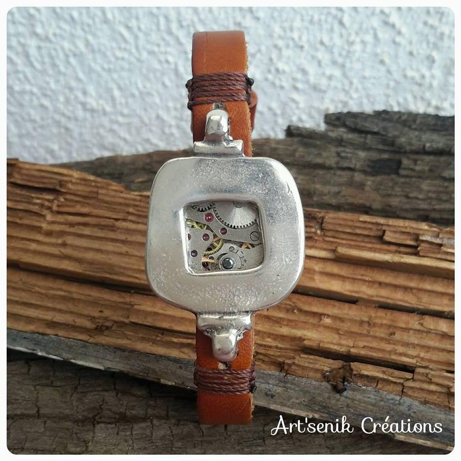 Image of Bracelet cuir Hématite