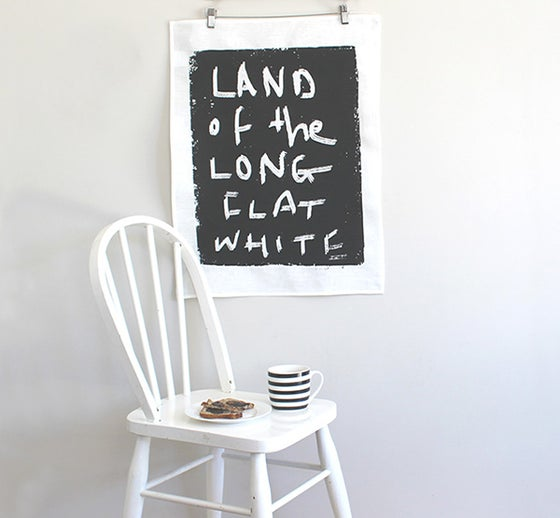 Image of 'Land of the Long Flat White' Linen Tea Towel