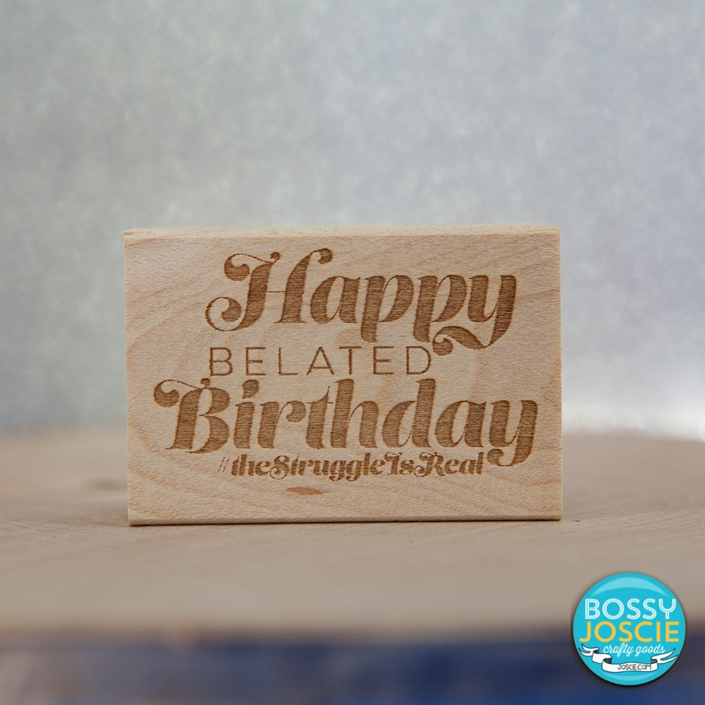 Image of belated birthday wishes stamp