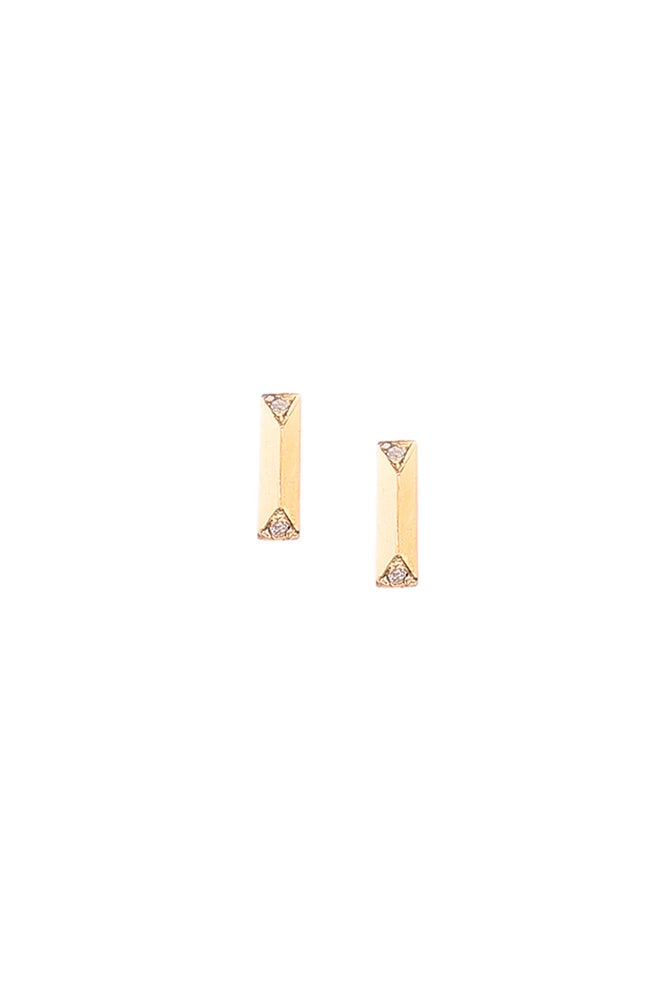 Image of WHITE DIAMOND PRISM STUDS- SMALL