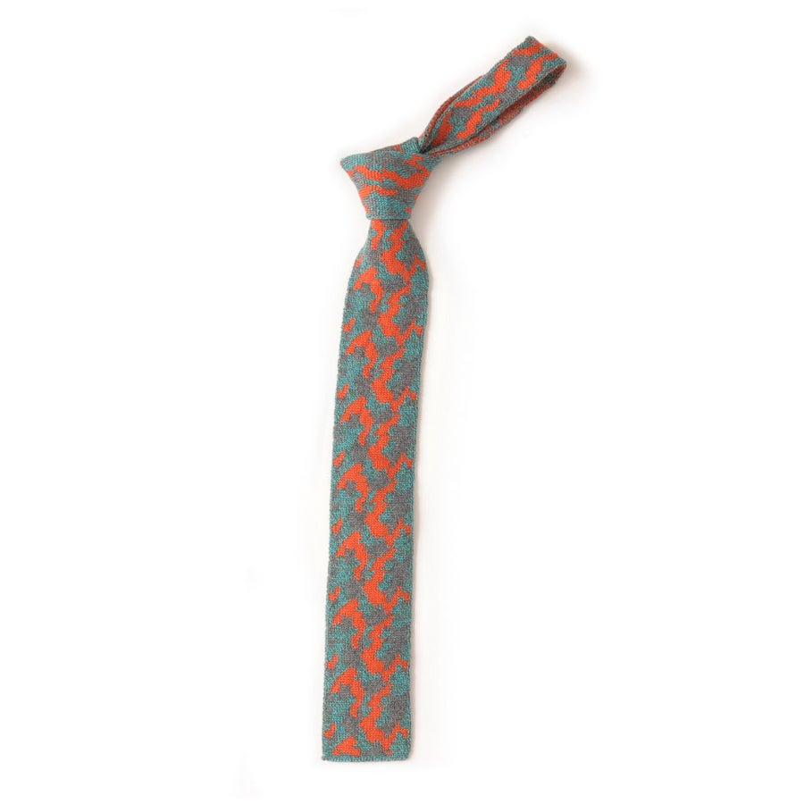 Image of Camouflage Tie in Mint Green Orange Mix