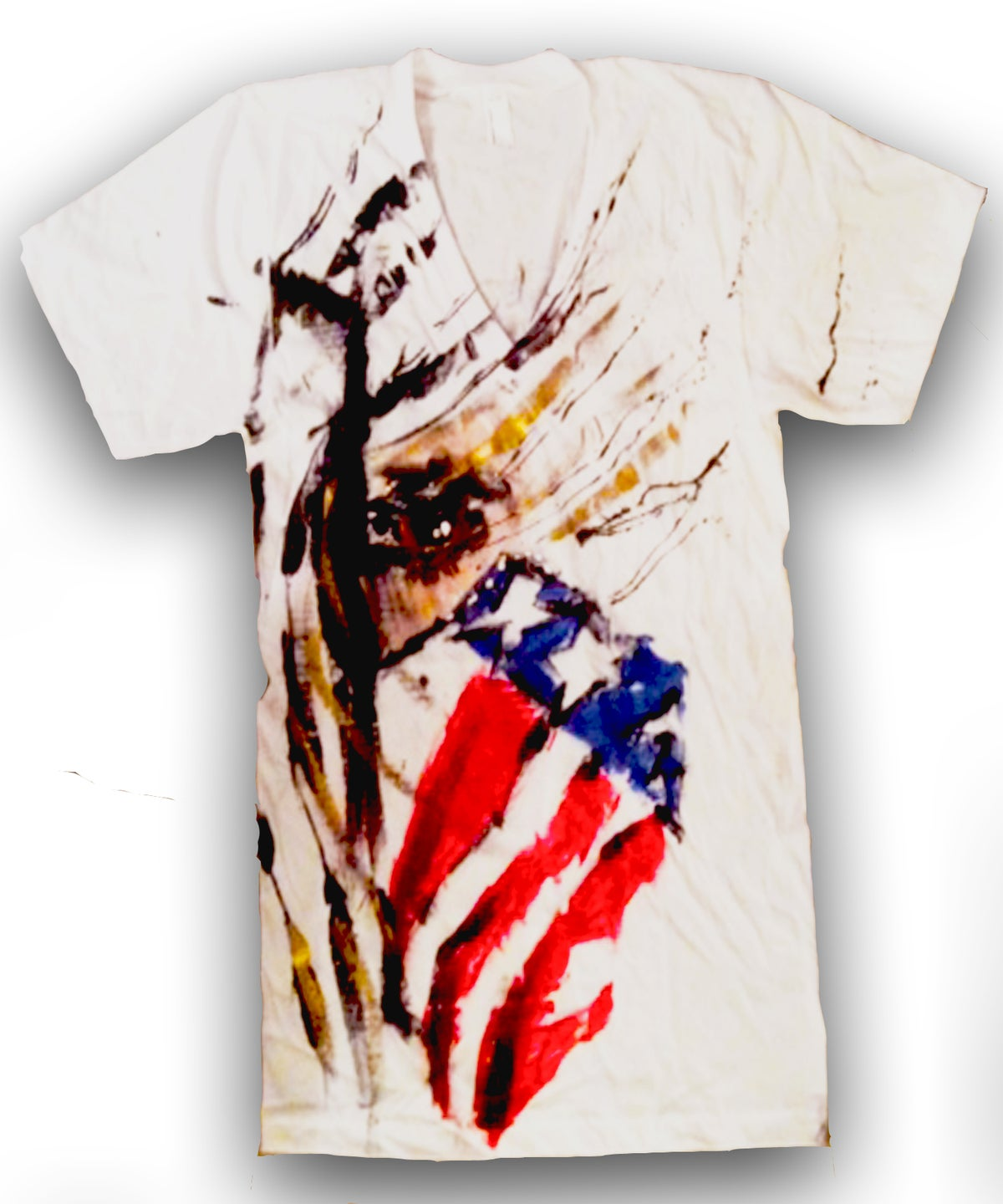 Image of America Outlaw V-Neck Tee (Handpainted by MissFitNYC)